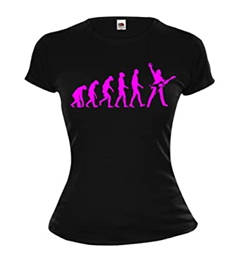 Girlie T-Shirt The Evolution of electric guitar-XS-Black-Neonpink