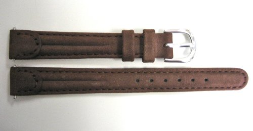 12Mm Brown Padded Distressed Leather Suede Like Watch Band Strap Fits Slim Runway & Swiss Army Wenger