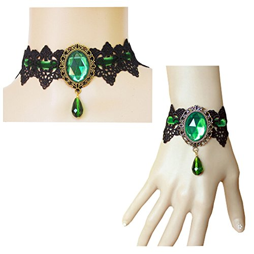 ThyWay Retro Handmade Lace Royal Court Vampire Choker Gothic Necklace Pendant Chain + Bracelet (Green)