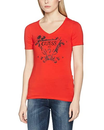 Guess Camiseta Manga Corta Rn Ss Traingle Flower Rojo