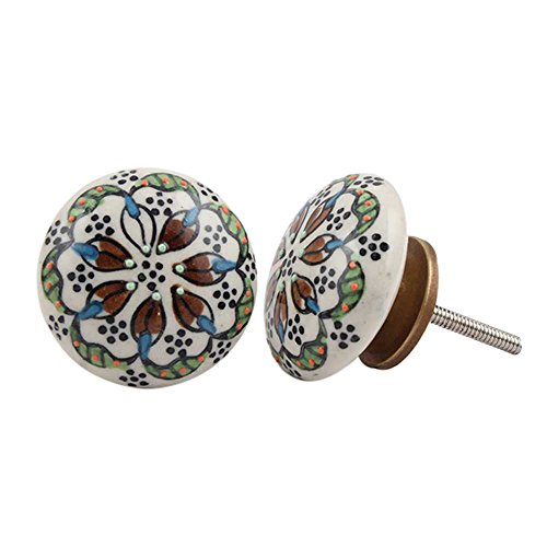 Set of 12 Handmade Ceramic White, Black, Green, Turquoise, Brown Mixed Drawer Pull Dresser Knob Cabinet Door Handle Online Antique Finish (Dresser Knobs Turquoise compare prices)
