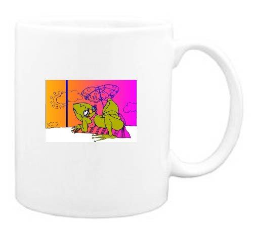 Mug with frog, amphibian, relaxing, beach, vacation