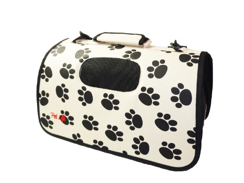 Pet Life Airline Approved Zippered Folding Cage Carrier, Paw Print Design, Large
