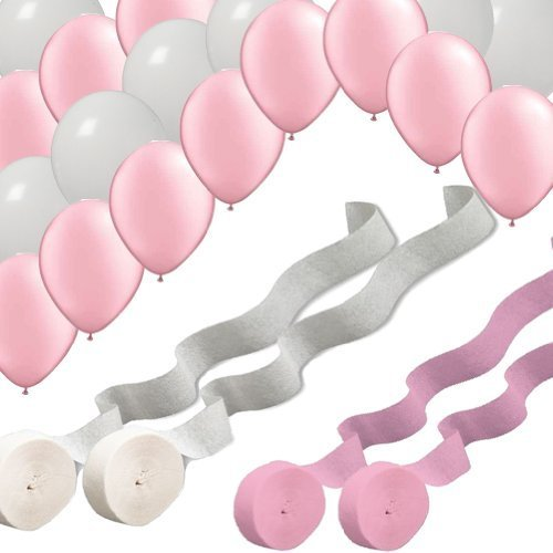 2 Pink 2 White Rolls Streamers and 24 Balloons Decorating Kit (Pink Decorating Kit)