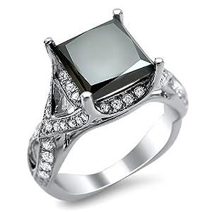 3.20ct Black Princess Cut Diamond Engagement Ring 18k White Gold