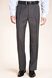 Big & Tall Supercrease® Active Waistband Micro Structured Trousers with Wool