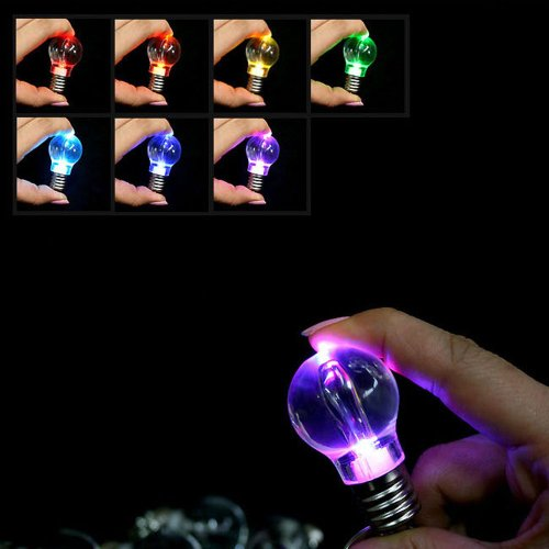 Set of 4 LED Colorful Lightbulb Flashlight Keychain (Lightbulb Key Chain compare prices)