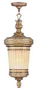 Livex Lighting 8908-65 Pendant with Hand Crafted Gold Dusted Glass Shades, Vintage Gold Leaf