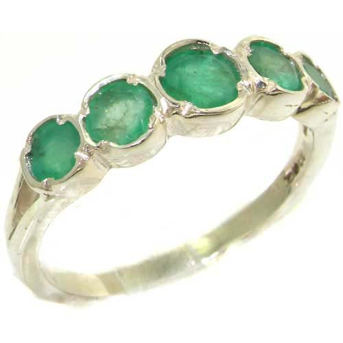 Genuine Solid Sterling Silver Natural Vibrant Emerald Womens High Quality Ring - Size 11.75 - Finger Sizes 4 to 12 Available - Suitable as an Anniversary ring, Engagement ring, High Quality ring, or Promise ring