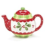 Festive Holly And Berries Christmas Teapot Beautiful Holiday Serveware For Teas