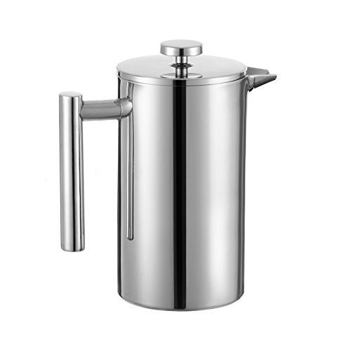 Meelio 18/8 Stainless Steel Double Wall Coffee French Press and Tea Maker,(Stainless Steel Screen,Mirror Finish,8 cup Cafetiere Roast Coffee ,1liter) (Gevalia Thermos compare prices)