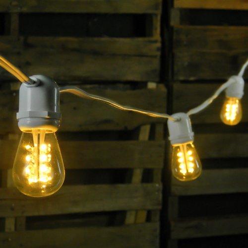 Commercial Led String Light, 24 Warm White Edison Bulbs, 54 Feet, White Wire