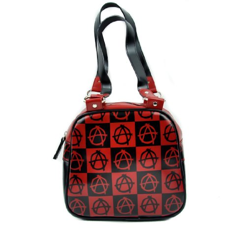 Black and Red Anarchy Sign Punk Handbag Purse