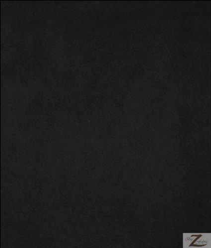 "BLACK SOLID POLAR FLEECE ANTI-PILL FABRIC 60"" WIDTH SOLD BY THE YARD"