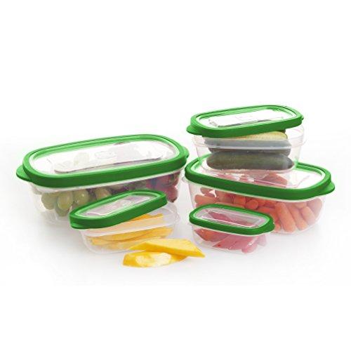 BINO 10-piece Rectangular Plastic Food Storage Set, Kelly Green