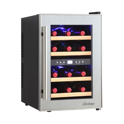 Vinotemp 12-Bottle Dual-Zone Thermoelectric Mirrored Wine Cooler