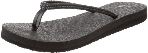 Sanuk Women's Yoga Twist Flip Flop,Black,7 M US