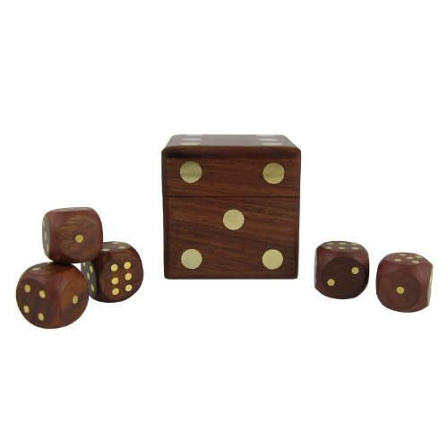 Dice Games 5 Dice Set Wooden Box Creative Gift Ideas - 1