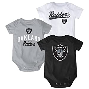 Oakland Raiders Baby Infant 3 piece Creeper set by NFL