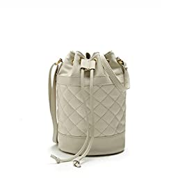 Hoxis Quilted Soft Pebbled Faux Leather Drawstring Bucket Mini Cross Body Shoulder Bag(Beige)