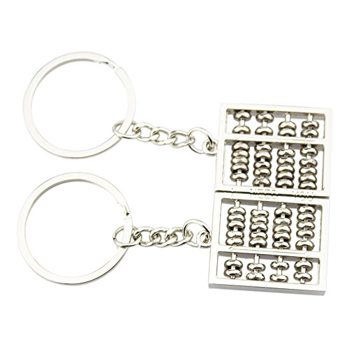 FOY-MALL 2PCS Abacus Zinc Alloy Car Keychain for Couple Lovers J1038