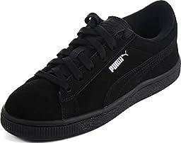 Puma Kids Boy\'s Puma Suede (Toddler/Little Kid/Big Kid) Black/Puma Silver Sneaker 1 Little Kid M