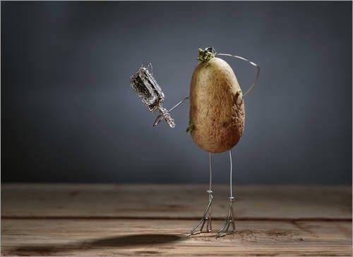 Reproduction sur toile 90 x 70 cm: Simple Things - Potatoes de Nailia Schwarz - Reproduction prête à accrocher, toile sur châssis, image sur toile véritable prête à accrocher, reproduction sur toil...