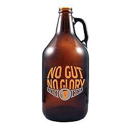 No Gut No Glory - Amber Glass Beer Growler, 64 oz