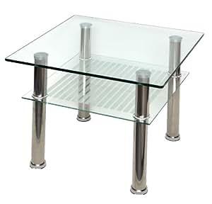 Mesa de centro de cristal de 60 x 60 cm de acero for Mesa cristal 60 x 60