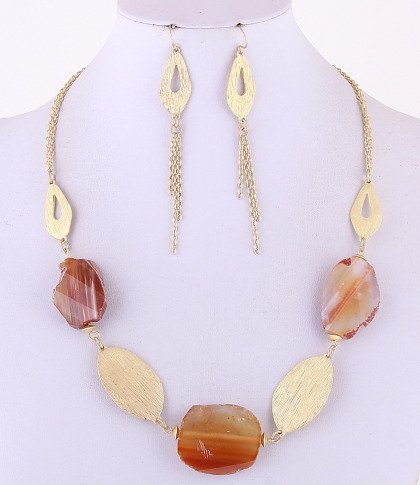Gemstone Necklaces & Hook Earrings Set / Metal / Stone / Lead & Nickel Safe / Lobster Claw Clasp / NL: 21.00