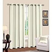 Luxury Faux Silk Curtains Ring/Tab Top Fully Lined Ready Made Curtain Set (90 x 72 inch (228 x 182cm)) (Cream)