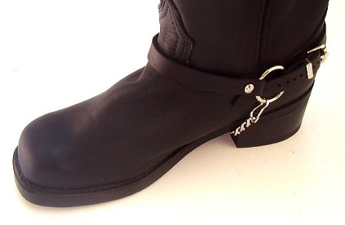 Biker Boots Boot Chains Black Leather Harness Straps