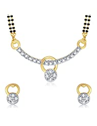 VK Jewels Gold And Rhodium Plated Mangalsutra Pendant With Earrings-MP1036G [VKMP1036G]