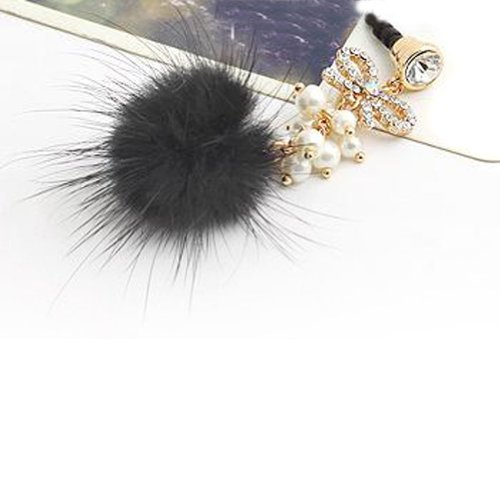 Wisedeal Bowknot Pearl Man-Made Rabbit Fur Pattern Crystal Headphone Jack Plug Anti-Dust Plug Stopper Chain For Iphones, Ipods, Ipads, Samsung Smartphones And Tablets With A Wisedeal Keychain (Black)