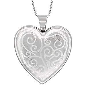 Sterling Silver Heart Locket Necklace 4 Picture Scroll Engraved, 16 inch long