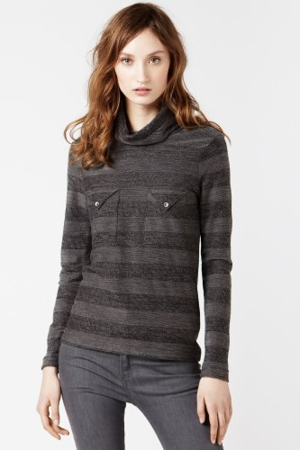 Long Sleeve Tonal Stripe Turtleneck With Chest Pockets