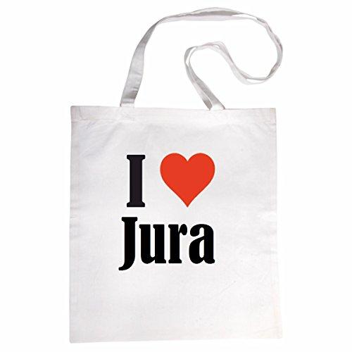 """Tasche""""I Love Jura""""Größe""""38x42""""Farbe""""Weiss""""Druck""""Schwarz"""