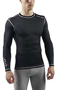 Sub Sports Dual Men's Compression Baselayer Long-Sleeved Top - Black, Large