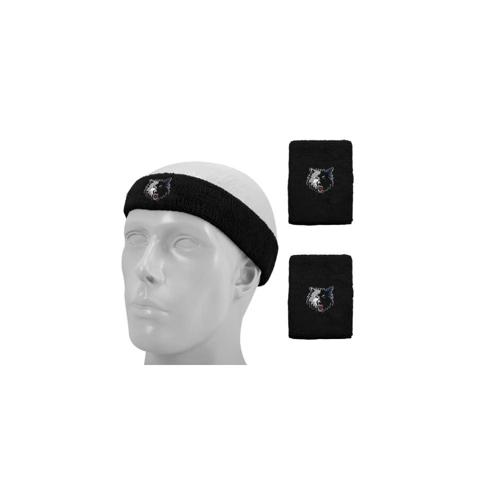 Nba Adidas Minnesota Timberwolves Black Headband Wristband Set