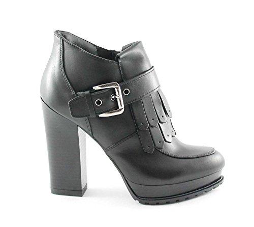 DIVINE FOLLIE 420823 nero scarpe donna montante frange zip tacco 39