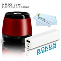 HMDX Audio HX-P230RD JAM Classic Bluetooth Wireless Speaker (Red) + FREE Bonus Photive 2600mAh Portable Battery Charger Power - Allows You To Charge Your Speakers or Phone On The Go