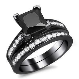 2.50ct Black Princess Cut Diamond Engagement Ring Bridal Set 14k Black Gold Rhodium Plating Over White Gold With a 1.50ct Center Diamond and 1.0ct of Surrounding Diamonds