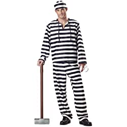 Men's Jailbird Prisoner Costume (Large/Black & White)
