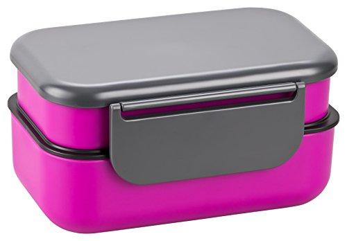 Lunch box avec deux compartiments Boîte déjeuner bento Boîte à pain Boîte de rangement avec couverts lilas