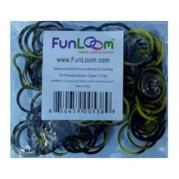 Yellow and Black Swirl 100 Silicone Bands with Super C-clips