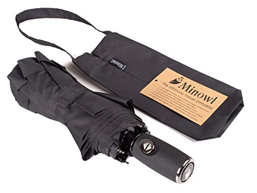 Compact Travel Umbrella by Minowl. Windproof Waterproof Portable Automatic Collapsible. The Best