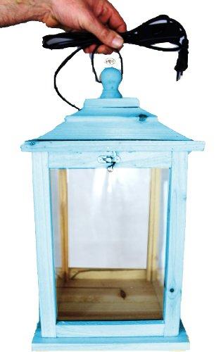 Holzlaterne, als Glasvitrine mit Beleuchtung, mit Glas und Holz - Rahmen, mit Holz - Deko KL-OFOS-BLAU blau hellblau
