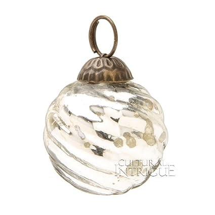 Mini Silver Mercury Glass Swirl Design Ornament by Luna