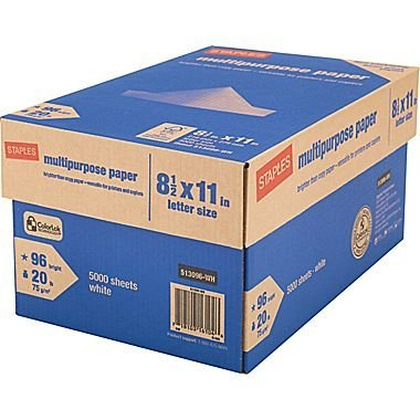 Staples Multipurpose Inkjet & Laser Paper, Letter, 8.5 x 11 inch, 96 Bright White, 20 lb., 5000 Sheets/Case Carton