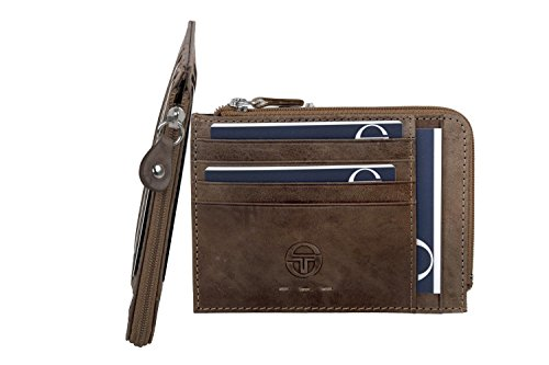 Portafoglio uomo SERGIO TACCHINI cognac in pelle tasca porta carte con zip A5241